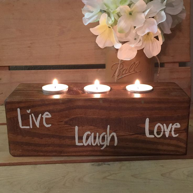 live love laugh wooden candle holder country home decor