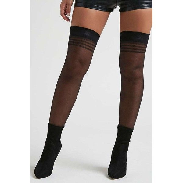Forever21 Striped Thigh-High Tights ($8) via Polyvore featuring intimates, hosiery, tights, black, striped pantyhose, thigh high nylon stockings, nylon stockings, thigh high pantyhose y forever 21 tights