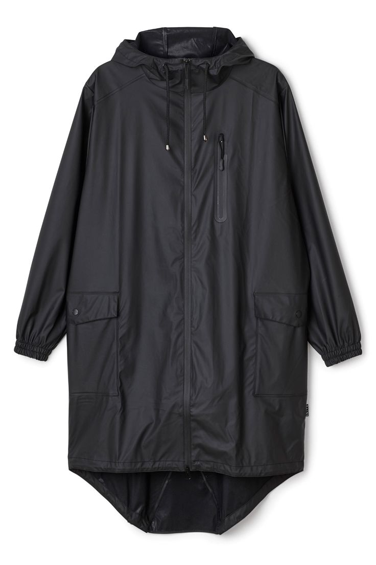 Weekday image 1 of RAINS Parka w zip and hoodie in Black