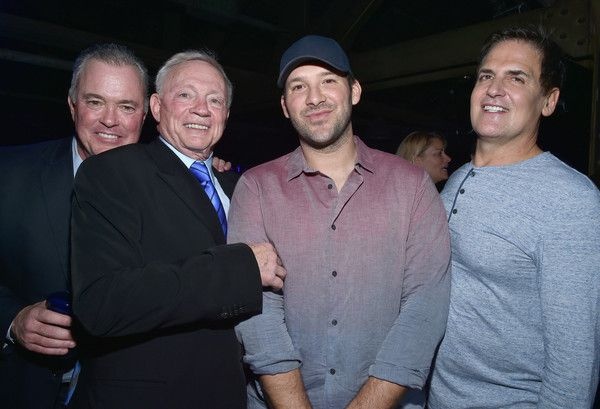 Tony Romo Photos Photos - (2ndL-R) Dallas Cowboys Owner / President / General Manager Jerry Jones, NFL player Tony Romo, and AXS TV Chairman, CEO, and President Mark Cuban attend the DirecTV Super Saturday Night co-hosted by Mark Cuban's AXS TV at Pier 70 on February 6, 2016 in San Francisco, California. - DirecTV Super Saturday Night Co-Hosted by Mark Cuban's AXS TV - Party