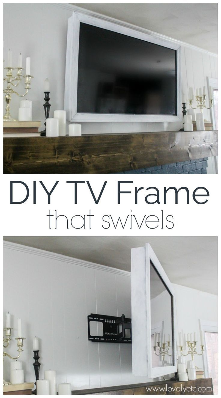 How to make a cheap and easy DIY TV frame. This TV frame is simple, lightweight, and swivels with your TV. #DIY #DIYhomedecor #decorate