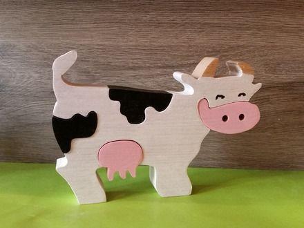 Jolie petite vache noire et blanche de 5 pièces en bois de hêtre massif , puzzle ou déco Fabriqué de manière artisanale dans l'atelier, peintures et vernis aux normes enfant. - 19040087