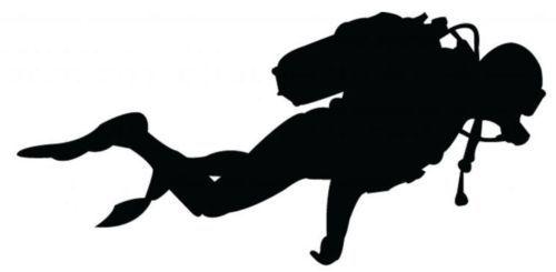 Scuba diver silhouette.  Mod podge over dive flag