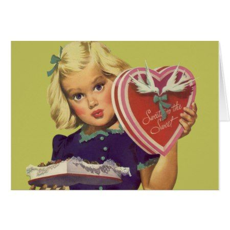 Vintage Cute Valentine's Day, Girl with Chocolates Card - tap, personalize, buy right now!