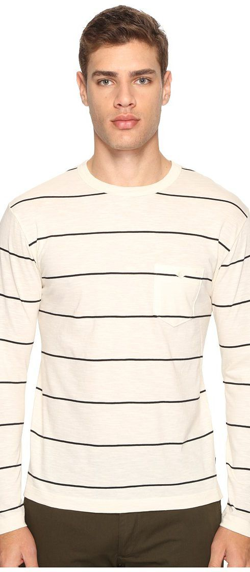 Todd Snyder Wide Stripe Long Sleeve Tee (Ecru) Men's Clothing - Todd Snyder, Wide Stripe Long Sleeve Tee, KN1737058, Apparel Top General, Top, Top, Apparel, Clothes Clothing, Gift, - Fashion Ideas To Inspire