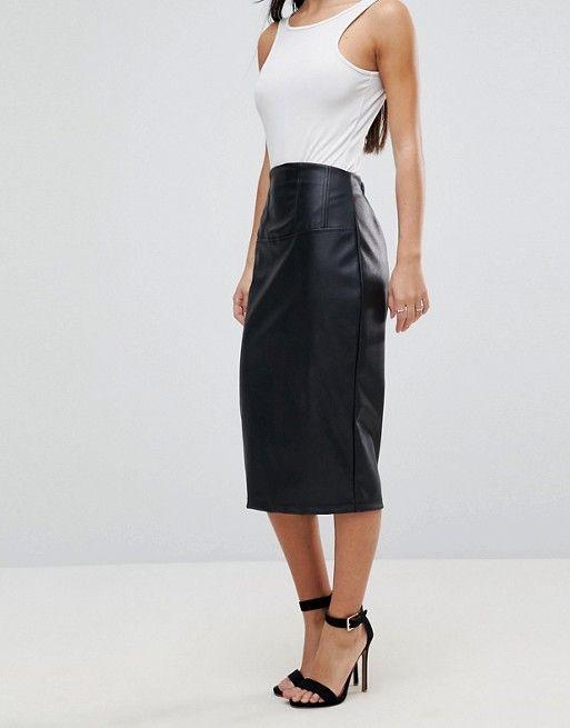 690b1387d ASOS Petite | ASOS PETITE Sculpt Me Leather Look High Waist Pencil Skirt