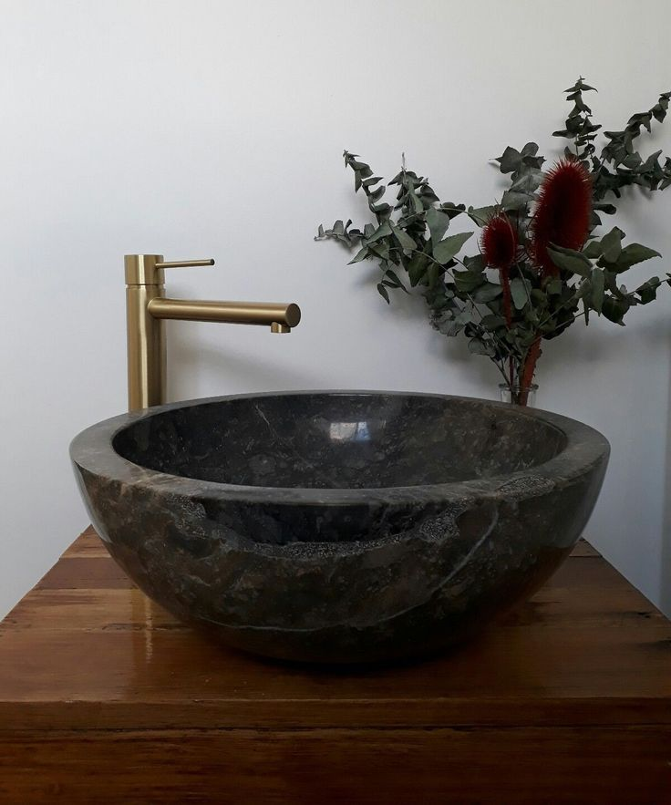 MARBLE Counter Top Vanity BASIN 40cm Grey MARBLE Polished HAND CRAFTED | eBay