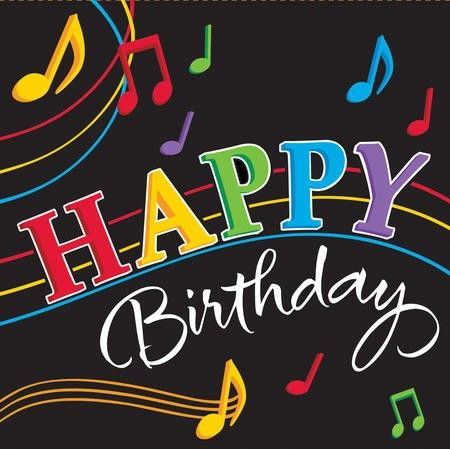 Dancing Music Notes Happy Birthday Lunch Serviettes (16) .  Contains 16 serviettes; 3ply