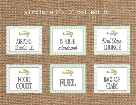 AIRPLANE Party Sign Collection - Airport Check In + Baggage Claim + Fuel + Food Court + Lounge + In Flight Entertainment (8x10)