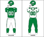 Saskatchewan Roughriders -  founded as the Regina Rugby Club on Tuesday, September 13, 1910, adopting the colours of old gold and purple. The team was also a founding member of the Saskatchewan Rugby Football Union as it was organized on September 22 of that year. Regina played their first game against the Moose Jaw Tigers on October 1, 1910. For the 1911 season, the team changed their colours to blue and white to match Regina Amateur Athletic Assoc.