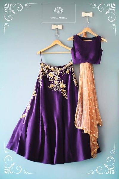 Light Lehengas - Purple Silk Light Lehenga by Izzumi Mehta | WedMeGood | Silk Purple lehenga anmd Choli with a Peach Net Dupatta and Gold Embroidery #wedmegood #indianbride #indianwedding #lehenga #indianlehenga #lightlehenga #purple #peach