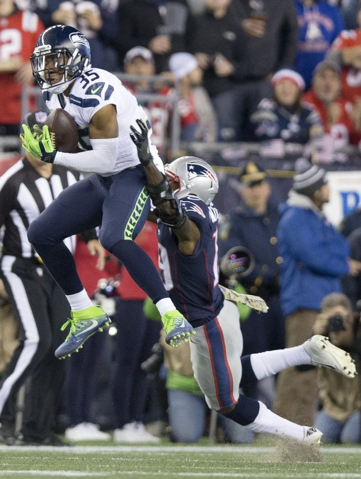 Seahawks vs. Patriots:  31-24, Seahawks  -  November 10, 2016  -    Seattle Seahawks cornerback DeShawn Shead (35) intercepts a pass intended New England Patriots wide receiver Malcolm Mitchell (19) for during the second quarter. (Dean Rutz / The Seattle Times)
