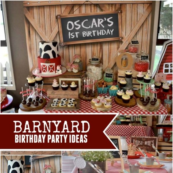 Would you like to create a destination celebration without leaving home? Consider this boy's rustic barnyard 1st birthday with gingham decorations, farm animals and a hay wagon of fresh ideas!