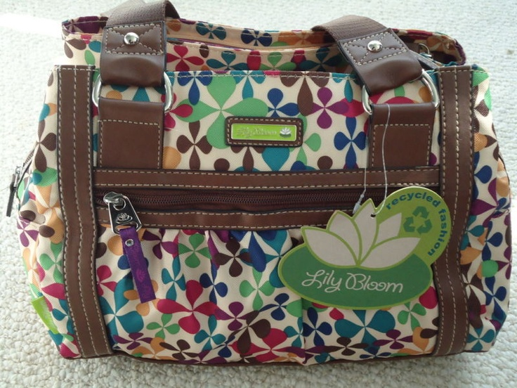 Lily Bloom handbags. All bags are made from recycled plastic bottles. I have two in this pattern. I use this style as a purse and the other as a diaper bag.
