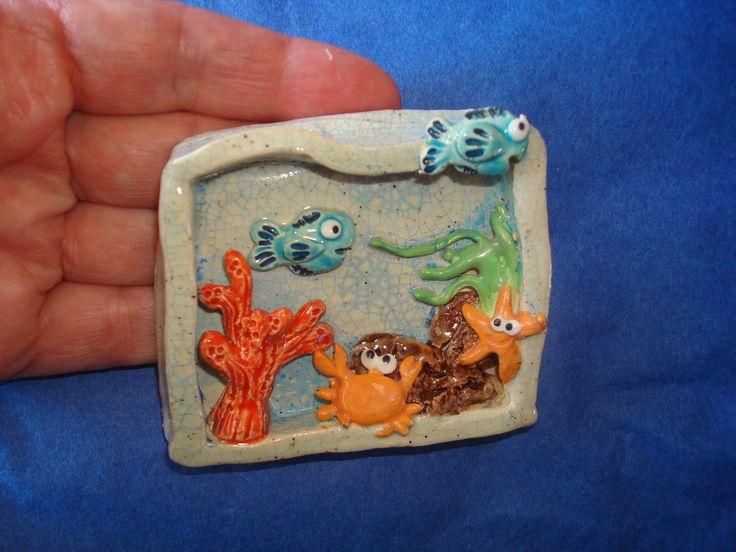 mer. En vente sur mon site ALM: http://www.alittlemarket.com/decorations-murales/fr_cadre_en_relief_ceramique_le_fond_de_la_mer_-12086373.html
