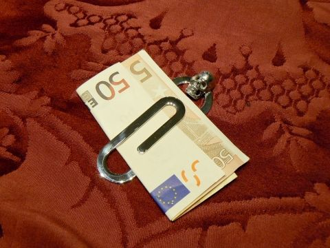 Skull money clip, Silver 925 handmade by Dogale jewellery Venice Italia www.veneziagioielli.com