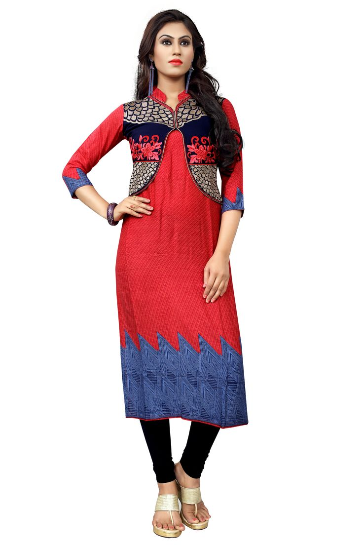 http://www.thatsend.com/shopping/lp/fvp/TESG227468/i/TE294542/iu/red-cotton-casual-kurti  Red Cotton Casual Kurti Size XS. Apparel Pattern Printed. Work Embroidery, Resham, Zari. Occasion Sangeet, Festive. Top Color Red. Top Fabric Cotton.