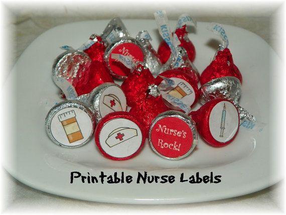 Nurse Printable Hershey Kiss  labels INSTANT by NCPrintables, $5.00