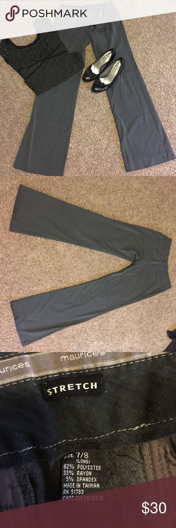 Grey Dress pants Stretch dress pants, long length, very new condition Maurices Pants Boot Cut & Flare