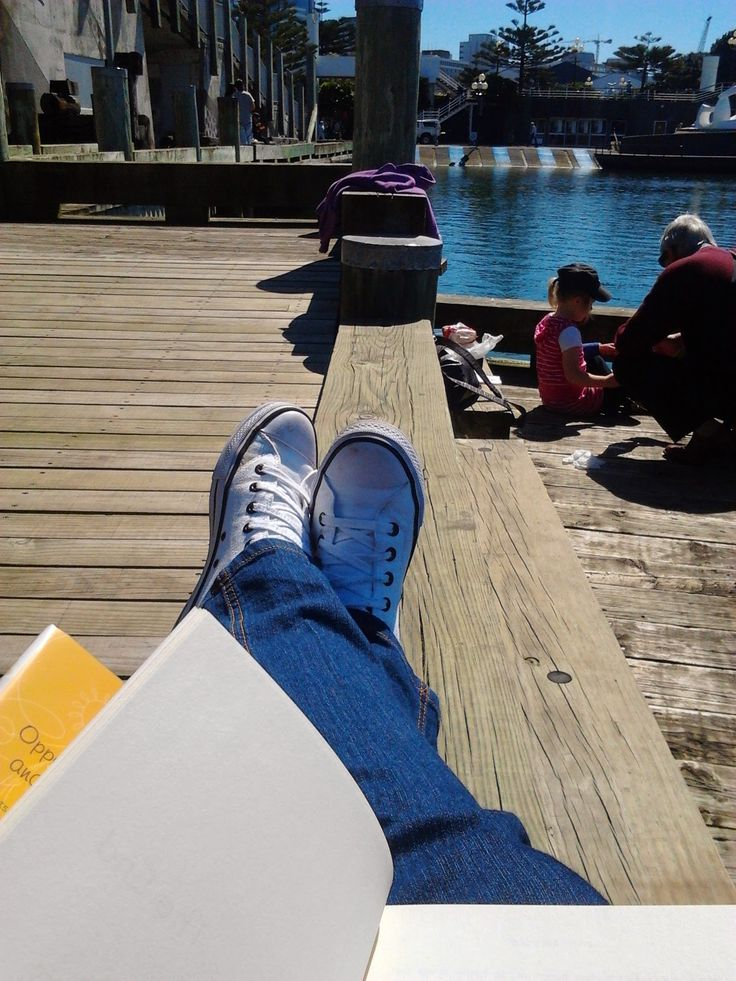 Close to the water, facing The Albatross by Tanya Ashken, is another amazing reading spot in Wellington. Where is yours? - photo by Ligia Horta