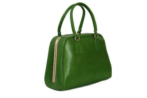 Green Leather Structured Handbag Large Top Handle Bag with Gold Trim Elizabeth James on Amazon £97.50