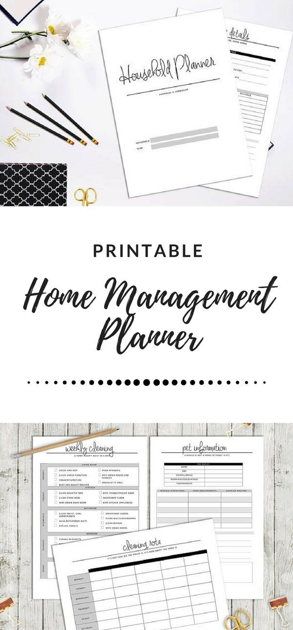 Household Planner PRINTABLE   Home Management Planner   Printable Planner   Family Planner   Household Printable Binder   Family Organizer   Cleaning Planner   #Printable #PDF #organization  #planner #afflink  #etsyfinds
