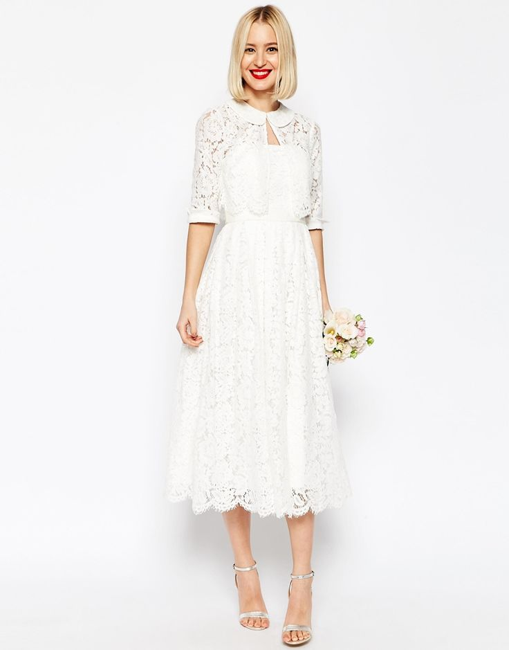 ASOS+BRIDAL+Lace+Bandeau+Midi+Prom+Dress+With+Crop+Jacket