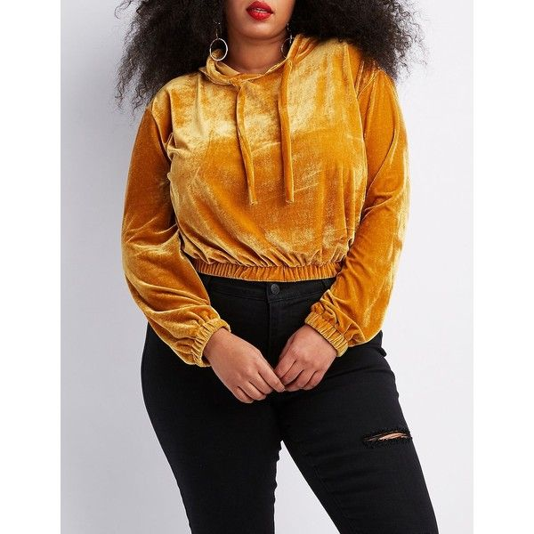 Charlotte Russe Velvet Cropped Hoodie ($25) ❤ liked on Polyvore featuring plus size women's fashion, plus size clothing, plus size tops, plus size hoodies, mustard, womens plus hoodies, plus size hoodie, women's plus size hoodies and women's plus size hooded sweatshirts