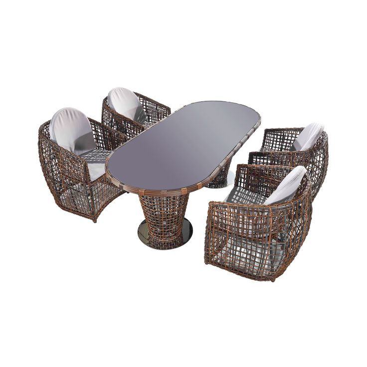 The Woven Paradise 5-Piece Outdoor Dining Set is a dream for outdoor entertaining. The intricately woven brown wood creates a dazzling treat for the eye, while fabric covered cushioned seating allows y...  Find the Woven Paradise 5-Piece Outdoor Dining Set, as seen in the The Foxfire Mountain House Collection at http://dotandbo.com/collections/the-foxfire-mountain-house?utm_source=pinterest