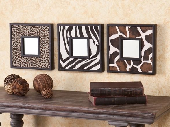 Animal Print 3pc Decorative Mirror Set