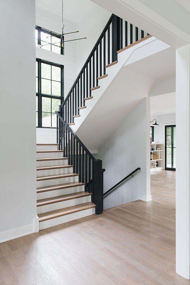 Black Railing Staircase Modern Farmhouse Staircase Black Railing | Modern Farmhouse Stair Railing | Contemporary | Design Small House | Simple 2Nd Floor Railing Wood Stairs Iron Railing Design | Vintage Farmhouse | Wire