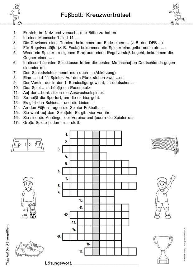 Kostenloses Fussball Arbeitsblatt Fur Die Grundschule