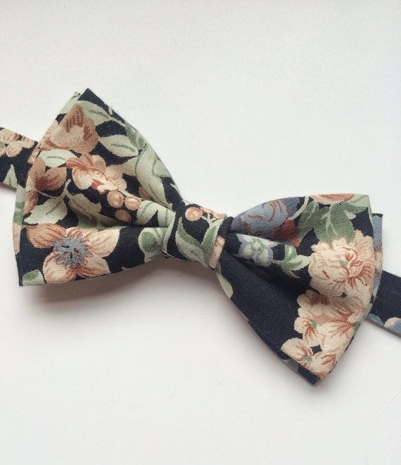 mens bow tie cotton floral print bow tie cotton bow by BeauTieUK