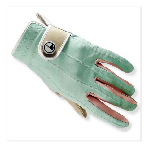 Leather women's golf gloves in aqua, coral, beige & white to match our Spectator ladies golf shoes | EQUIPT for play.