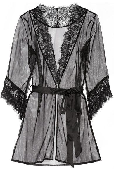 L'Agent by Agent Provocateur Idalia lace-trimmed tulle robe
