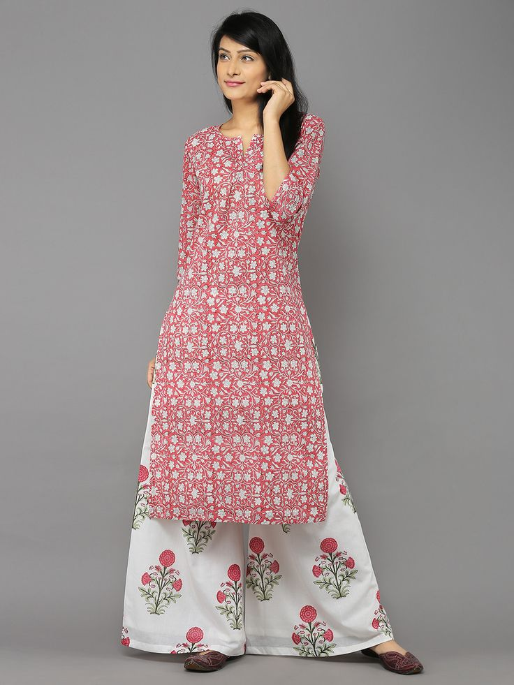 Size Chart (In inches)- These are garment measurements. Length of kurta is 45 inches, Length of palazzo is 42 inches. XS - Chest : 32, Upper Waist : 24, Lower
