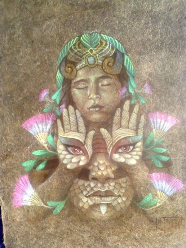 Luis Tamani Amasifuen is a shaman and visionary painter who documents his encounters with the plant teacher, Mother Ayahuasca.