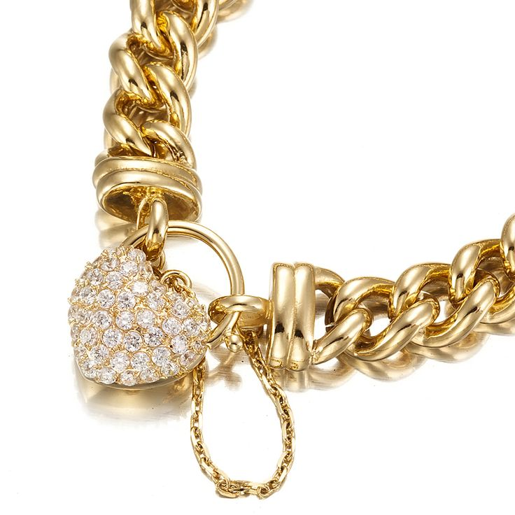 18ct Yellow Gold Layered Chunky Curb Bracelet with Simulated Diamond Locket   Allure Gold