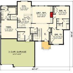 Craftsman Ranch Home with Video - 89866AH floor plan - Main Level