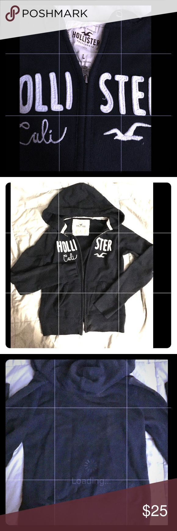 Hollister Navy Blue Zip Up Hoodie L Hollister Navy Blue Zip Up Hoodie, size L, Like New Perfect condition, worn once & washed in woolite. Soft! Hollister Jackets & Coats