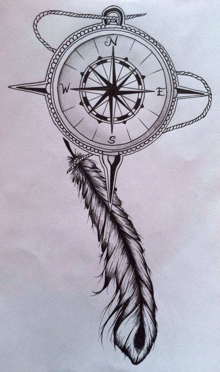 Old compass and a feather | Tatueringar | Pinterest ...