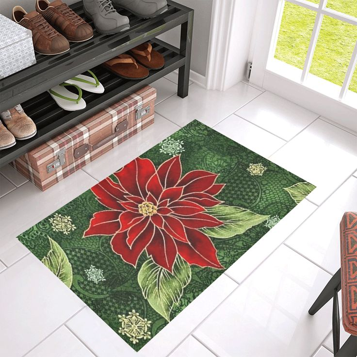 "Elegant Christmas Poinsettia Azalea Doormat 30"" x 18"" - Available in other sizes."