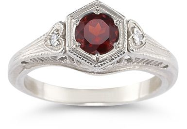 ApplesofGold.com - Garnet and White Topaz Heart Ring, .925 Sterling Silver