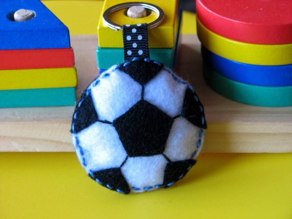 Soccer  personalised 100 Pure wool Felt keyring by InaSudjana, $9.00