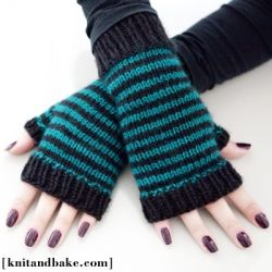 Knitting pattern for striped, fingerless gloves. Perfect for keeping your hands warm while leaving your fingers free!
