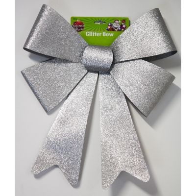LARGE GLITTER BOW SILVER
