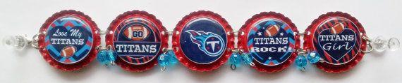 Tennessee Titans Bottle Cap Bracelet w/ or by RevampedEcoJewelry