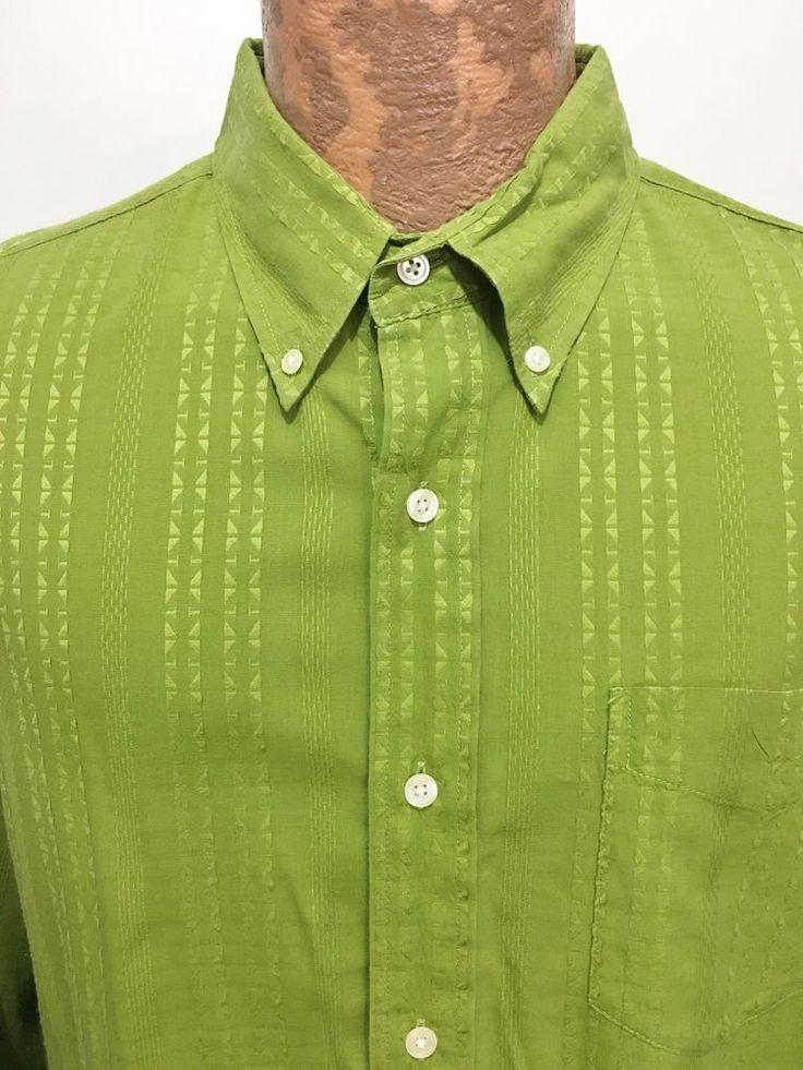 Lucky Brand Shirt Mens XL Apple Green Striped Long-Sleeve Button-Down Cotton  #LuckyBrand #ButtonFront