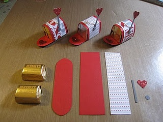 Awe! I ♥ it! Valentine Mailboxes made out of Hershey Nuggets and printed paper. Super cute!!