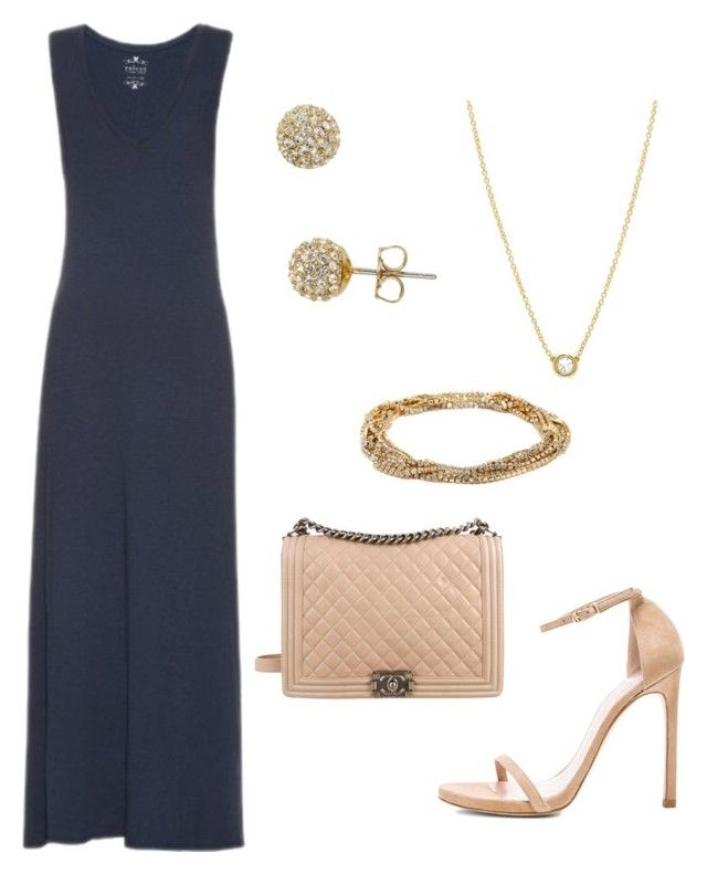 """""""Navy maxi dress - Casual"""" by brittjade ❤ liked on Polyvore featuring Velvet by Graham & Spencer, Stuart Weitzman, Nadri, LULUS and Chanel"""